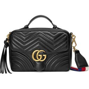 Gucci GG Matelassé Leather Camera Bag Black